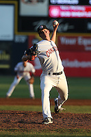 Bob Wheatley (33) of the Vancouver Canadians pitches during a game against the Tri-City Dust Devils at Nat Bailey Stadium on July 23, 2015 in Vancouver, British Columbia. Tri-City defeated Vancouver, 6-4. (Larry Goren/Four Seam Images)