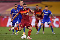 Jordan Veretout of AS Roma scores on penalty the goal of 2-1 during the Serie A football match between AS Roma and ACF Fiorentina at stadio Olimpico in Roma (Italy), July 26th, 2020. Play resumes behind closed doors following the outbreak of the coronavirus disease. <br /> Photo Antonietta Baldassarre / Insidefoto