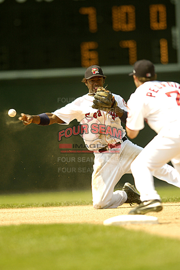 Portland Sea Dogs infielder Hanley Ramirez #2 during a game versus the New Britain Rock Cats at Hadlock Field in Portland, Maine on June 5, 2005.  (Ken Babbitt/Four Seam Images)