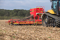Drilling oil seed rape with a Challenger 765 and 8m Vaderstad drill - Lincolnshire, August