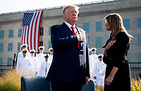 United States President Donald J. Trump and first lady Melania Trump stand for the National Anthem at a ceremony at the Pentagon during the 18th anniversary commemoration of the September 11 terrorist attacks, in Arlington, Virginia on Wednesday, September 11, 2019. <br /> Credit: Kevin Dietsch / Pool via CNP /MediaPunch