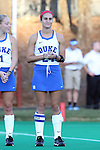 16 October 2015: Duke's Aileen Johnson. The University of North Carolina Tar Heels hosted the Duke University Blue Devils at Francis E. Henry Stadium in Chapel Hill, North Carolina in a 2015 NCAA Division I Field Hockey match. UNC won the game 2-1.