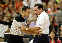 USA's coach Mike Krzyzewski (r) have words with the referee during friendly match.July 24,2012. (ALTERPHOTOS/Acero)