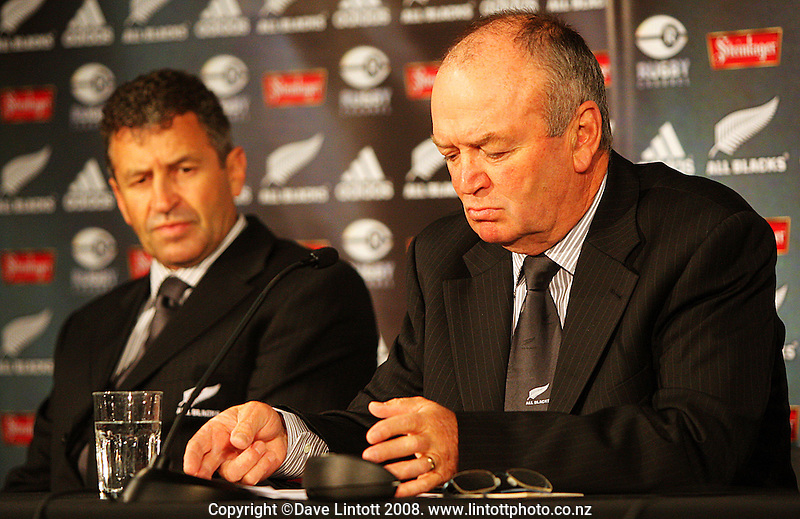 All Blacks back coach Wayne Smith and head coach Graham Henry at the All Blacks end-of-year tour team announcement at NZRU HQ, Wellington, New Zealand on Sunday, 26 October 2008. Photo: Dave Lintott / lintottphoto.co.nz
