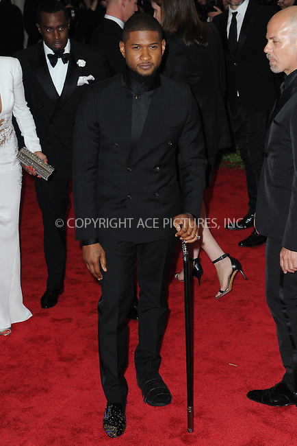 WWW.ACEPIXS.COM<br /> May 4, 2015...New York City<br /> <br /> Usher attending the Costume Institute Benefit Gala  celebrating the opening of China: Through the Looking Glass at The Metropolitan Museum of Art on May 4, 2015 in New York City.<br /> <br /> Please byline: Kristin Callahan<br /> ACEPIXS.COM<br /> Tel# 646 769 0430<br /> e-mail: info@acepixs.com<br /> web: http://www.acepixs.com