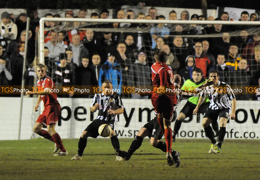 Terry Galbraith shoots to equalise for Darlington - Spennymoor Town vs Darlington 1883 - Ebac Northern League First Division Football at The Brewery Field, Spennymoor - 15/02/13 - MANDATORY CREDIT: Steven White/TGSPHOTO - Self billing applies where appropriate - 0845 094 6026 - contact@tgsphoto.co.uk - NO UNPAID USE.