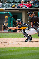 Charlie Cutler (37) of the Salt Lake Bees sets the target against the Colorado Springs Sky Sox in Pacific Coast League action at Smith's Ballpark on May 24, 2015 in Salt Lake City, Utah.  (Stephen Smith/Four Seam Images)
