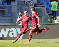 Diego Perrotti of AS Roma  celebrates after scores during the  italian serie a soccer match, AS Roma -  SSC Napoli       at  the Stadio Olimpico in Rome  Italy , March 31, 2019