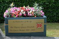 Summer flower display to celebrate the life of Her Majesty, Queen Elizabeth, The Queen Mother, in Farnham, Surrey.