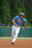 Myrtle Beach Pelicans infielder Chesny Young (3) running the bases  during a game against the Potomac Nationals at Ticketreturn.com Field at Pelicans Ballpark on May 25, 2015 in Myrtle Beach, South Carolina. Myrtle Beach defeated Potomac 3-0. (Robert Gurganus/Four Seam Images)