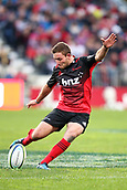 June 3rd 2017, AMI Stadium, Christchurch, New Zealand; Super Rugby; Crusaders versus Highlanders;  Mitchell Hunt of the Crusaders kicks. Super Rugby match
