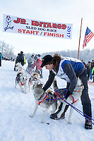 Logan McCready-DeBruin leaves the start line at Knik during the start of the Junior Iditarod on Saturday February 25, 2017. <br /> <br /> <br /> Photo by Jeff Schultz/SchultzPhoto.com  (C) 2017  ALL RIGHTS RESVERVED