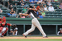 Outfielder Nick Williams (1) of the Hickory Crawdads bats in a game against the Greenville Drive on Sunday, June 9, 2013, at Fluor Field at the West End in Greenville, South Carolina. Williams is the No. 25 prospect of the Texas Rangers, according to Baseball America and was a second-round pick in the 2012 First-Year Player Draft. The catcher is the Drive's Jayson Hernandez. Hickory won, 6-3. (Tom Priddy/Four Seam Images)