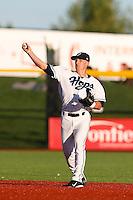 Ryan Gebhardt #7 of the Hillsboro Hops during a game against the Spokane Indians at Hillsboro Ballpark on July 22, 2013 in Hillsboro Oregon. Spokane defeated Hillsboro, 11-3. (Larry Goren/Four Seam Images)