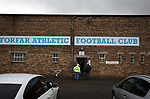 An exterior view behind the main stand at Station Park, pictured before Forfar Athletic took on Edinburgh City in an SPFL League 2 fixture. It was the club's sixth and final meeting of City's inaugural season since promotion from the Lowland League the previous season. City came from behind to win this match 2-1, watched by a crowd of 446.