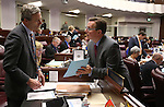 Nevada Senate Republicans Greg Brower, left, and Ben Kieckhefer work on the Senate floor in the final minutes of the legislative session at the Legislative Building in Carson City, Nev., on Monday, June 1, 2015. <br /> Photo by Cathleen Allison