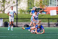 Boston, MA - Sunday May 07, 2017: Rosie White and Debinha De Oliveira during a regular season National Women's Soccer League (NWSL) match between the Boston Breakers and the North Carolina Courage at Jordan Field.