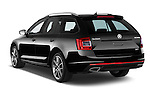 Car pictures of rear three quarter view of a 2014 Skoda Octavia 2.0 CRTDI 135kw DSG6 RS 5 Door Wagon 2WD Angular Rear