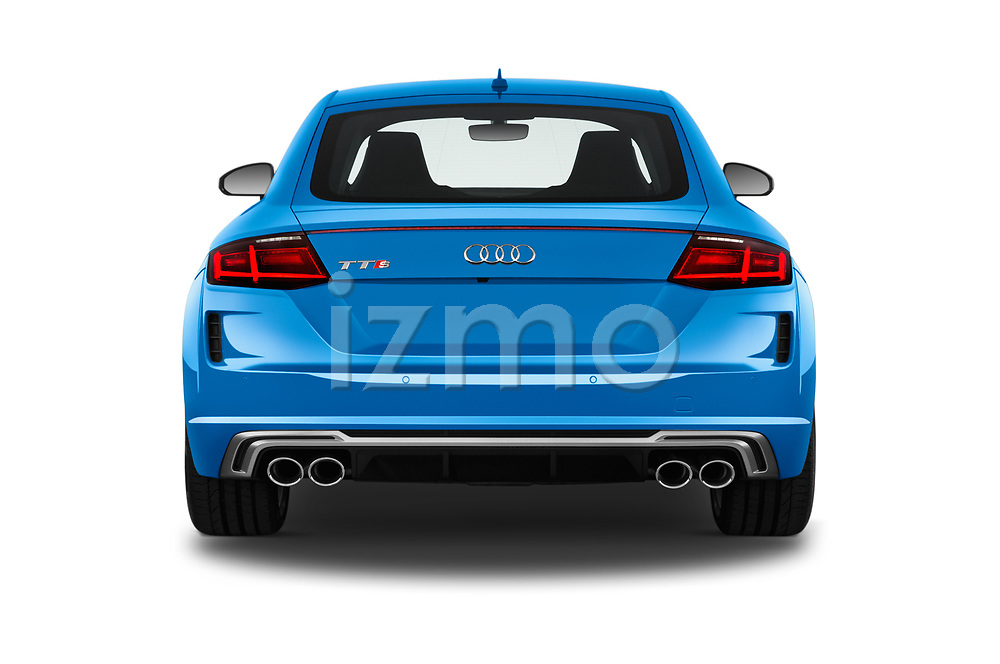 Straight rear view of a 2019 Audi TTS-Coupe Base 3 Door Coupe stock images