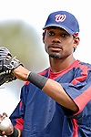 9 March 2007: Washington Nationals outfielder Nook Logan warms up prior to facing the Baltimore Orioles at Fort Lauderdale Stadium in Fort Lauderdale, Florida. <br /> <br /> Mandatory Photo Credit: Ed Wolfstein Photo