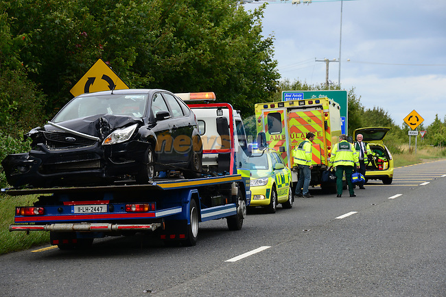 the scene of the accident on the Drogheda to Slane roadon Sunday evening, the occupants of the vehicles were removed to Our Lady of Lourdes hospital in Dorgheda.<br />