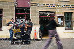Street musicians at the Salamanca Market, in Hobart's Salamanca Place. Hobart, Tasmania, AUSTRALIA