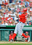 20 May 2012: Washington Nationals outfielder Bryce Harper breaks lumber in action against the Baltimore Orioles at Nationals Park in Washington, DC. The Nationals defeated the Orioles 9-3 to salvage the third game of their 3-game series. Mandatory Credit: Ed Wolfstein Photo