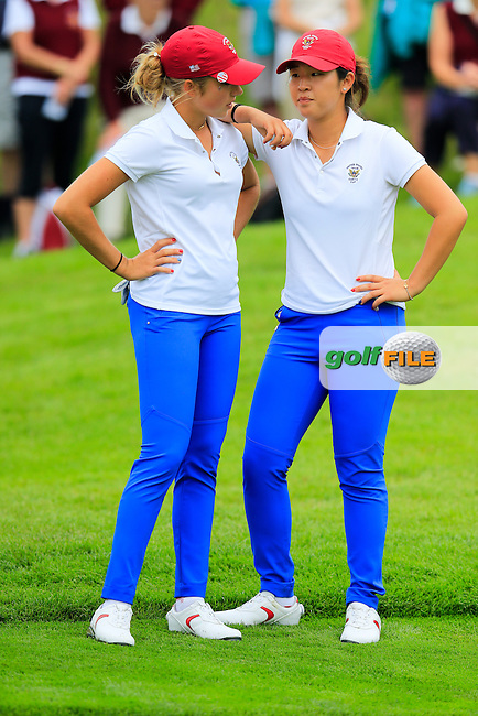 Sierra Brooks and Andrea Lee on the 17th during the Saturday morning foursomes at the 2016 Curtis cup from Dun Laoghaire Golf Club, Ballyman Rd, Enniskerry, Co. Wicklow, Ireland. 11/06/2016.<br /> Picture Fran Caffrey / Golffile.ie<br /> <br /> All photo usage must carry mandatory copyright credit (&copy; Golffile | Fran Caffrey)