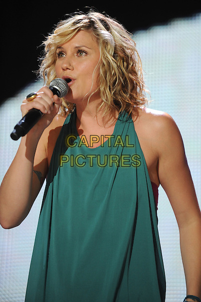 JENNIFER NETTLES - SUGARLAND.2008 CMA Music Festival Nightly Concert held at LP Field, Nashville, Tennessee, USA..June 5th, 2008.stage concert live gig performance music half length microphone singing blue green top .CAP/ADM/LF.©Laura Farr/AdMedia/Capital Pictures.