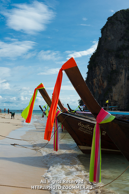 Longtail boats on Railay Beach in Krabi, Thailand