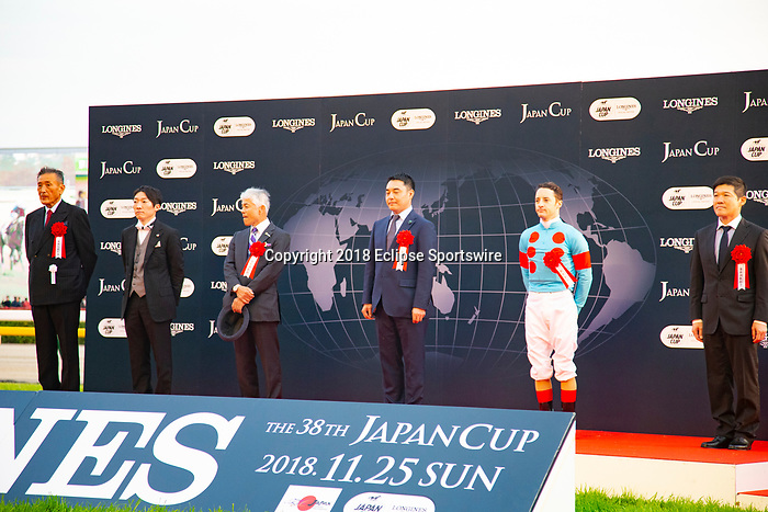 FUCHU,JAPAN-NOVEMBER 25: Japan Cup's winning ceremony at Tokyo Racecourse on November 25,2018 in Fuchu,Tokyo,Japan (Photo by Kaz Ishida/Eclipse Sportswire/Getty Images)
