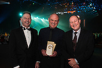 From left, Grow Wellington chief executive Gerard Quinn, Matrix Homes design manager Graeme Farr and Wellington Employers' Chamber of Commerce chief executive John Milford after Matrix Homes won the Emerging Gold Products Award. Wellington Gold Awards at TSB Bank Arena, Wellington, New Zealand on Thursday, 9 July 2015. Photo: Dave Lintott / lintottphoto.co.nz