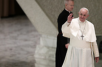 "Pope Francis waves faithful as he arrives to lead an audience with members of the ""Yo Puedo!"" project in the Paul VI hall at the Vatican on November  30, 2019.<br /> UPDATE IMAGES PRESS/Isabella Bonotto<br /> <br /> STRICTLY ONLY FOR EDITORIAL USE"