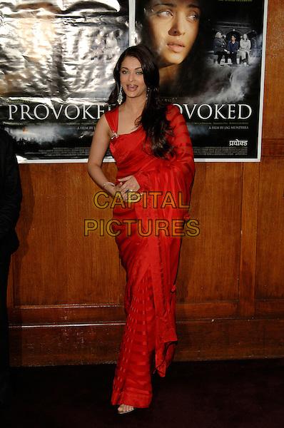 "AISHWARYA RAI.""Provoked""  film photocall.Kempinski Hotel, London, England.3rd April 2007 .full length red indian sari.CAP/PL.©Phil Loftus/Capital Pictures."