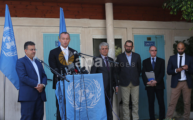 Nikolay Mladenov, United Nations Special Coordinator for the Middle East Peace Process, speaks during a press conference, in Gaza city on September 25, 2017. Photo by Mohammed Asad