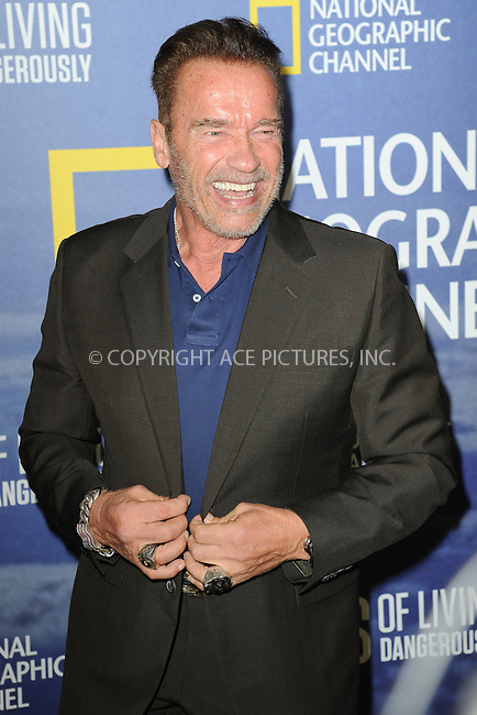 www.acepixs.com<br /> September 21, 2016  New York City<br /> <br /> Arnold Schwarzenegger attending National Geographic's 'Years Of Living Dangerously' new season world premiere at the American Museum of Natural History on September 21, 2016 in New York City. <br /> <br /> Credit: Kristin Callahan/ACE Pictures<br /> <br /> <br /> Tel: 646 769 0430<br /> Email: info@acepixs.com