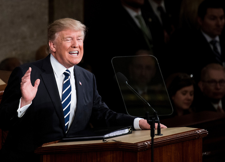 UNITED STATES - FEBRUARY 28: President Donald Trump delivers his address to a joint session of Congress on Tuesday, Feb. 28, 2017. (Photo By Bill Clark/CQ Roll Call)