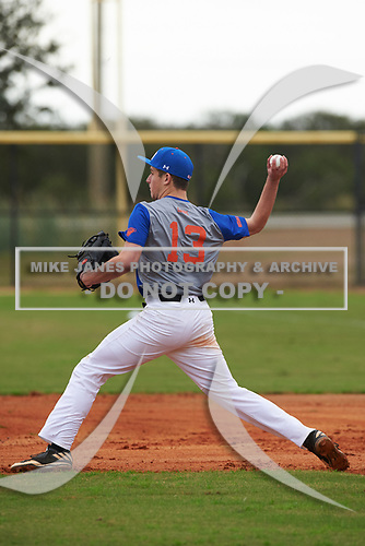 Hugo Carbajo (13) of Saucier, Mississippi during the Baseball Factory All-America Pre-Season Rookie Tournament, powered by Under Armour, on January 13, 2018 at Lake Myrtle Sports Complex in Auburndale, Florida.  (Michael Johnson/Four Seam Images)