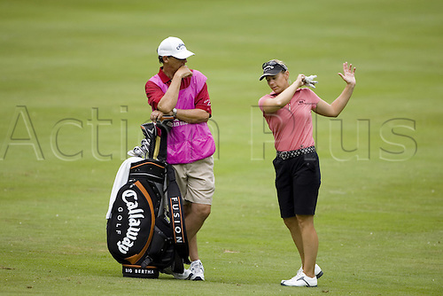 23 July 2005: Swedish golfer Annika Sorenstam (SWE) speaking with her caddie on the 11th fairway during the Evian Masters tournament held at the Evian Masters Golf Club, Evian, France. Photo: Nick Walker/Actionplus..050723 female woman ladies womens caddy
