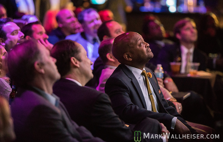 Senator Oscar Braynon watches the 62nd Annual Press Skits 2017, The Crony Awards, sponsored by the Florida Capitol Press Corps, held at The Moon in Tallahassee, Florida March 14, 2017.  The funds raised go to the Barbara Frye Scholarship Fund supporting Florida journalism students attending Florida schools.