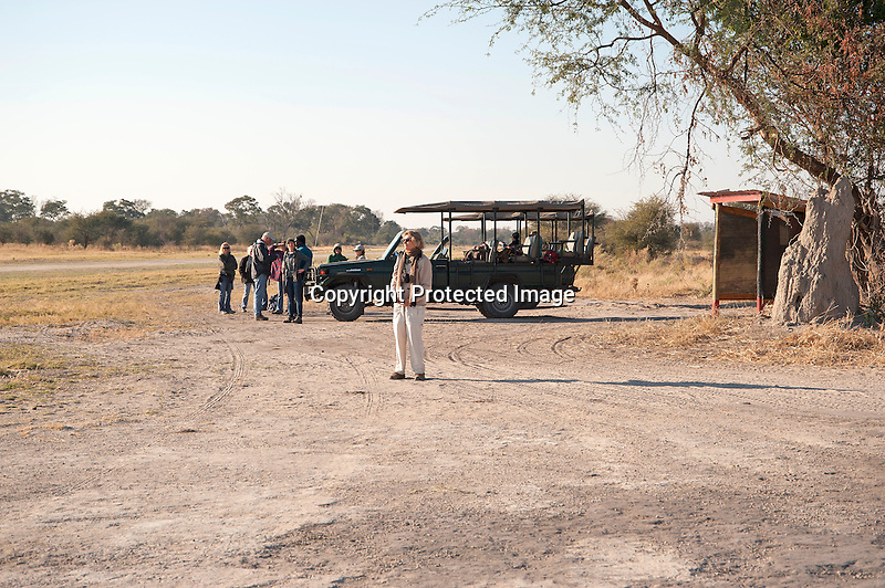 Airstrip near Santawani Camp in Savanna of Botswana in Africa