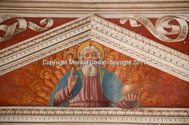 A 16th cenutry fresco in the Santa Maria delle Grazie church in Gravedona, a town on Lake Como, Italy