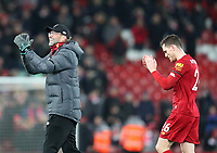 30th November 2019; Anfield, Liverpool, Merseyside, England; English Premier League Football, Liverpool versus Brighton and Hove Albion; Liverpool manager Jurgen Klopp returns the applause from the fans as he leaves the pitch after the match - Strictly Editorial Use Only. No use with unauthorized audio, video, data, fixture lists, club/league logos or 'live' services. Online in-match use limited to 120 images, no video emulation. No use in betting, games or single club/league/player publications