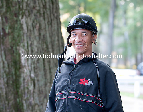 Jockey Simon Husbands out and about at trainer Allen Jerkens' barn.