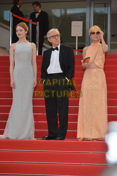 Emma Stone, Woody Allen, Parker Posey attend the Premiere of 'Irrational Man' during the 68th annual Cannes Film Festival on May 15, 2015 in Cannes, France.<br /> CAP/PL<br /> &copy;Phil Loftus/Capital Pictures