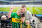 Shane Crossan, Ballymac, Diarmuid and Cormac Riordan, Cromane, Kerry  fans at the All Ireland Senior Quarter Final at Croke Park on Sunday.