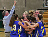 Coach Steve Van Dood and his Mattituck varsity girls basketball players celebrate after their 48-47 win over Carle Place in the Class B Long Island Championship at SUNY Old Westbury on Monday, March 6, 2017.