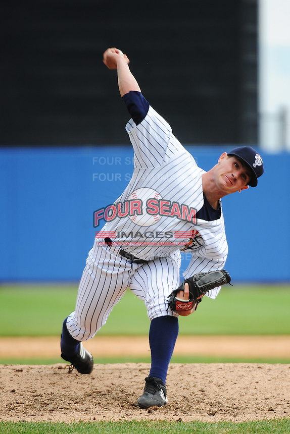 Staten Island Yankees pitcher Nick Rumbelow (35) during game against the State College Spikes at Richmond County Bank Ballpark at St.George on August 8, 2013 in Staten Island, NY.  Staten Island defeated State College 6-5.  (Tomasso DeRosa/Four Seam Images)