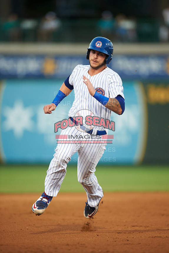 South Bend Cubs catcher Tyler Alamo (22) running the bases during a game against the Burlington Bees on July 22, 2016 at Four Winds Field in South Bend, Indiana.  South Bend defeated Burlington 4-3.  (Mike Janes/Four Seam Images)