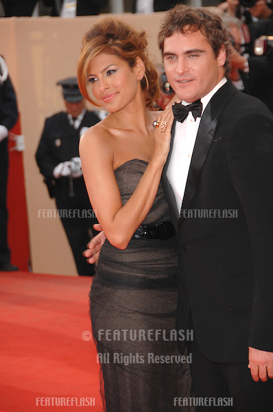 "Eva Mendes & Joaquin Phoenix at screening for ""We Own the Night"" at the 60th Annual International Film Festival de Cannes..May 25, 2007  Cannes, France..© 2007 Paul Smith / Featureflash"